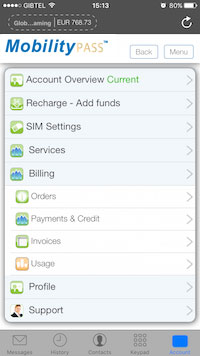 MobilityPass member area dashboard proactive web applicatiion